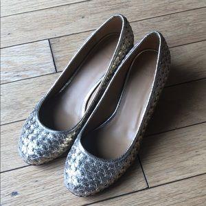 Sezane Gold Woven Heels